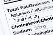 Nutrition label focused on Trans Fat content concept healthy eating