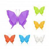 Origami butterflies, vector set