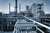 stock photo of gas-pipes  - overall view of an oil and gas refinery - JPG