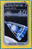 HUNGARY - CIRCA 1975:: A stamp printed in Hungary, presents Sputnik, the second spacecraft launched
