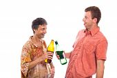 Drunken Men With Bottle Of Alcohol