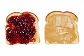 foto of toast  - A piece of peanut butter toast next to a piece of raspberry jelly on toast - JPG