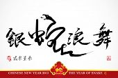 Snake Calligraphy, Chinese New Year 2013 Translation: Silver Snake Dancing and Celebrating the New Y