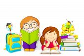picture of bumble bee  - vector illustration of kids studying book with bee - JPG
