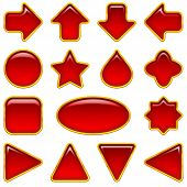 Red glass buttons, set