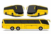 stock photo of motor coach  - A illustration of yellow coaches set  - JPG