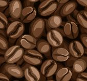 Coffee beans seamless background. Vector illustration.