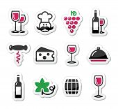 Wine labels set - glass, bottle, restaurant, food