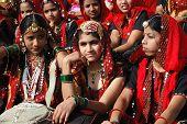Rajasthani Girls Are Preparing To Dance Perfomance At Camel Fair,Pushkar