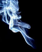 Blue And White Smoke On Black Back Ground
