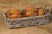 Walnuts In A Wicker Basket On A Sacking