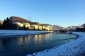 View over the river Salzach at Salzburg, Austria