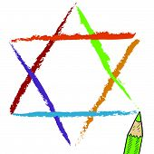 Colorful Star of David sketch