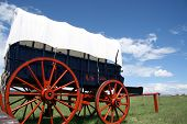 image of trailblazer  - picturesque red white and blue calvary wagon at Fort Union National Monument - JPG