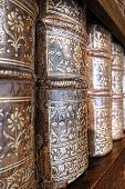 Old Leather Bound Books Spines On Library Shelf