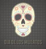 Dia dos mortos pintado cartão de crânio