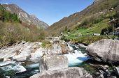 Mountain river in Verzasca valley, Italian part of Switzerland