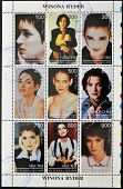 Collection stamps printed in Abkhazia (Georgia) shows Winona Ryder