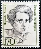 A stamp printed in the Germany shows Hannah Arendt