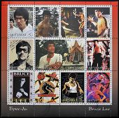 Bruce Lee in 12 stamp views of a great star of Martial Arts scenes from many of most famous movies