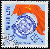 ROMANIA - CIRCA 1963: stamp printed in Romania shows astronaut Yuri Gagarin circa 1963.