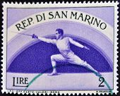SAN MARINO - CIRCA 1954: A stamp printed in San Marino shows Fencing circa 1954