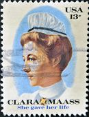 UNITED STATES OF AMERICA - CIRCA 1976: stamp printed in USA shows Clara Mass she gave her life