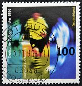 GERMANY - CIRCA 1996: A stamp printed in Germany shows to soccer champion in 1996 Borussia Dortmund