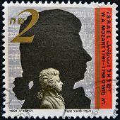 ISRAEL - CIRCA 1991: A stamp printed in Israel shows Wolfgang Amadeus Mozart circa 1991