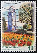 A stamp printed in New Zealand shows Clock Tower in Seymour Square Tower Blenheim