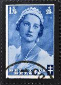 BELGIUM - CIRCA 1935: A stamp printed in Belgium shows Queen Astrid circa 1935