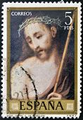SPAIN - CIRCA 1970: A stamp printed in Spain shows Ecce Homo painting by Luis de Morales circa 1970