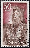 SPAIN - CIRCA 1972: A stamp printed in Spain shows Fernan Gonzalez of Castile circa 1972