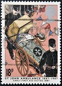 UNITED KINGDOM - CIRCA 1987: a stamp printed in the Great Britain shows St. John Ambulance centenary