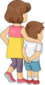 Illustration of a Boy Being Led by His Elder Sister