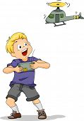 Illustration of a Boy Playing with a Remote-controlled Chopper Toy