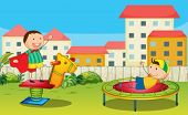 image of bounce house  - Illustration of kids playing in a beautiful nature - JPG