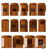 Collectie van kabinet bureaus van verschillende configuraties voor handige werk en opslag
