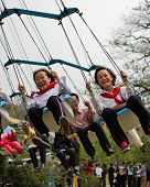 North Korean children at Taedong-san Funfair