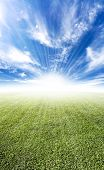 stock photo of paysage  - Beautiful sun flare horizon over land meadow photo with bright future concept - JPG