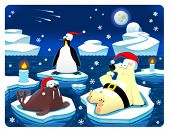 Christmas at the North Pole. Funny cartoon and vector illustration