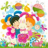 Постер, плакат: Счастливые дети празднования Пасхи