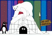 foto of igloo  - An eskimo emerging from his igloo to find arctic animals and the Northern Lights - JPG