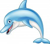 image of razorback  - Vector illustration of funny dolphin cartoon character - JPG