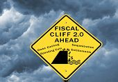 Fiscal cliff warning sign. Next fiscal cliff concerning the debt ceiling hits in March 2013