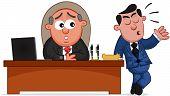 Business Cartoon - Boss Man and Complaining Employee