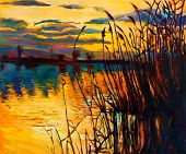 picture of fern  - Original oil painting showing beautiful lakesunset landscape - JPG