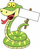 Snake cartoon with blank sign