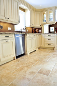 stock photo of ceramic tile  - Ceramic tile floor in a modern luxury kitchen - JPG