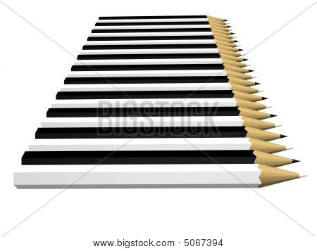 Row Of Pencils Black And